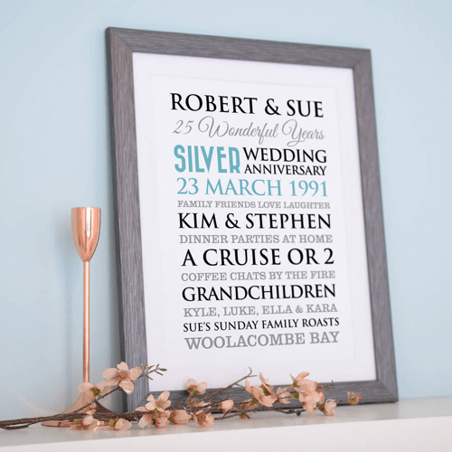 an image of personalised silver wedding anniversary art