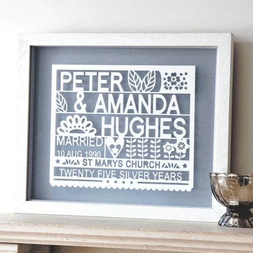 an image of a personalised silver wedding anniversary gift