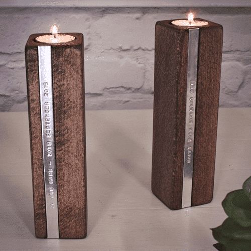 an image of a personalised set of 2 wooden candle holders