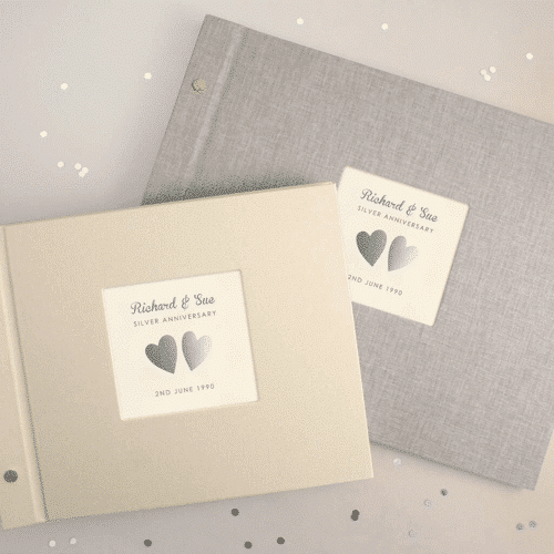 an image of a personalised silver wedding anniversary photo album