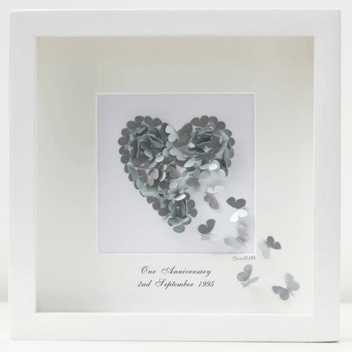 an image of a framed butterfly silver wedding anniversary heart gift idea