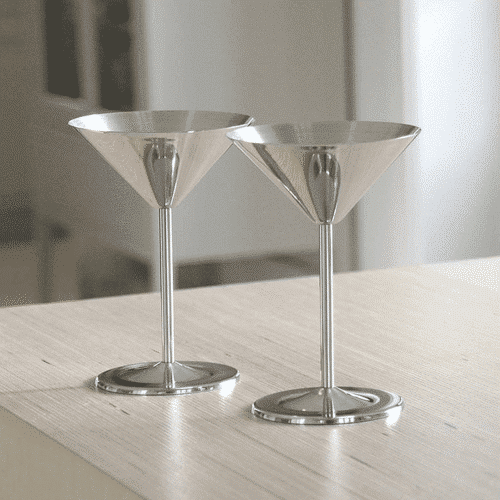 an image of a silver cocktail glass