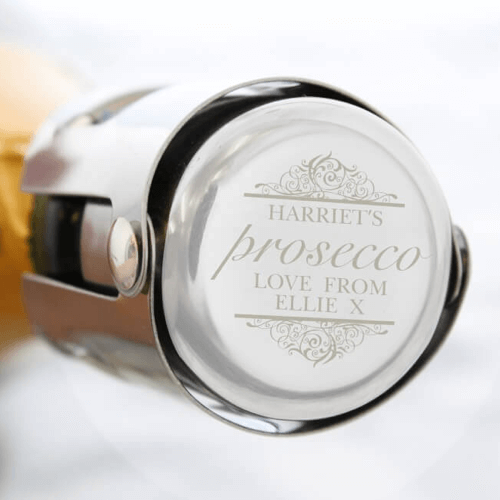 an image of a personalised Prosecco or champagne bottle stopper