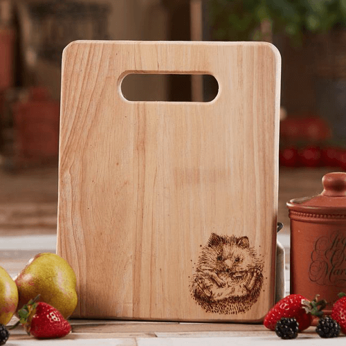 an image of a wooden hedgehog chopping board