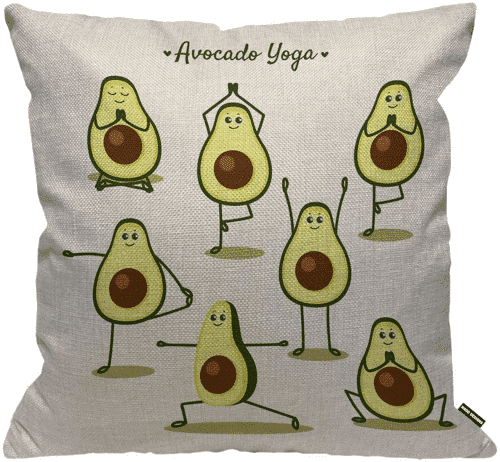 an image of a avocado yoga cushion cover - one of our avocado novelty gifts ideas