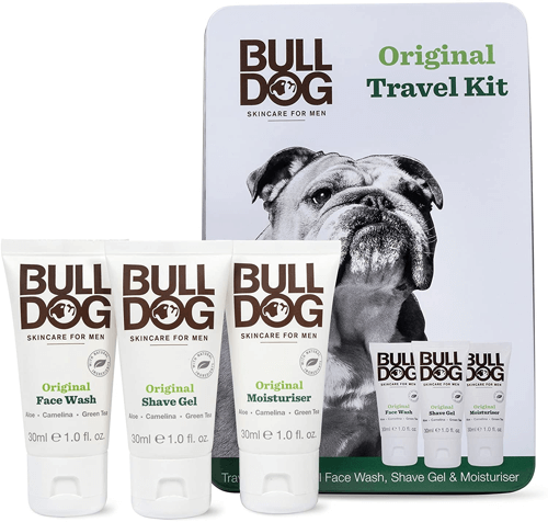 an image of a bulldog travel kit for men - one of our suggestions of travelling gifts for him