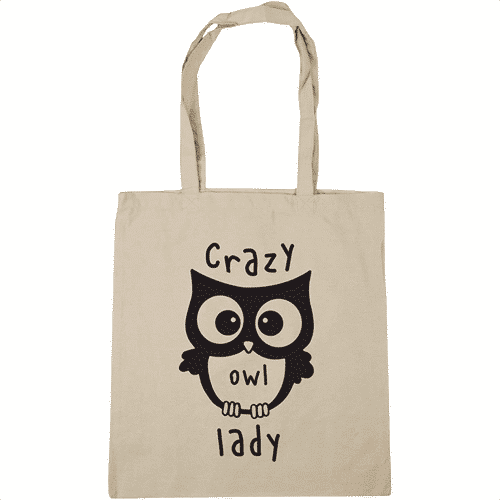 an image of an owl themed tote bag - one of our cheap owl gifts ideas