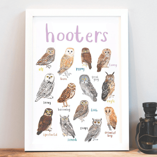 an image of a fun owl art print - one of our funny owl gifts ideas