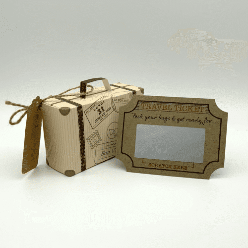 an image of a mini suitcase scratch and reveal travel ticket - one of our suggestions of unique gifts