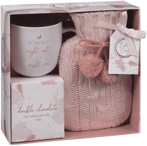 an image of a cosy hot water bottle gift set