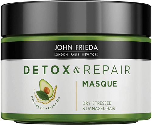 an image of detox and repair masque for damaged hair that includes avocado oil and green tea