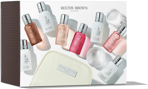 an image of a molton brown mini beauty travel bag for women - one of our suggestions of travelling gifts for her
