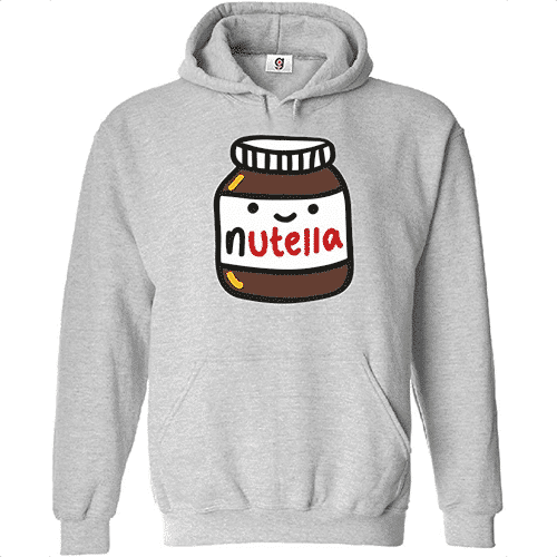 an image of a chocolate and hazelnut spread themed hoodie