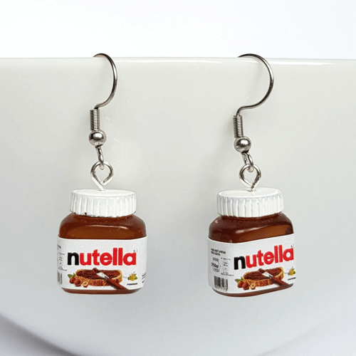 an image of nutella themed earrings - one of our nutella related gifts ideas
