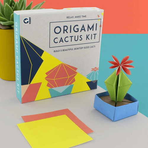 an image of an origami cactus kit - one of our cactus gift box ideas