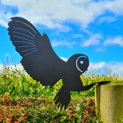 an image of a metal owl fence topper gift idea