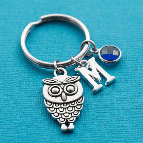 an image of a personalised owl keyring gift idea - one of our personalised owl gifts ideas