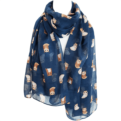 an image of an owl print scarf