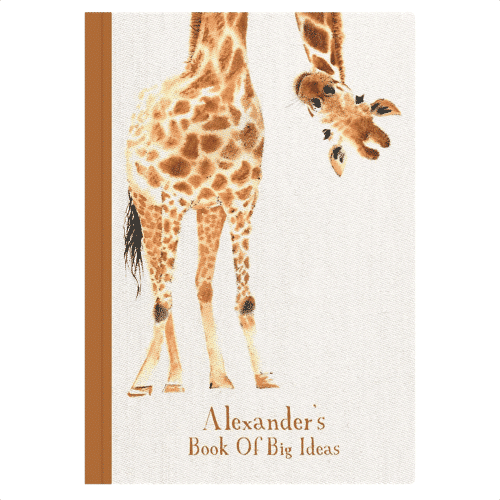 an image of a personalised giraffe notebook