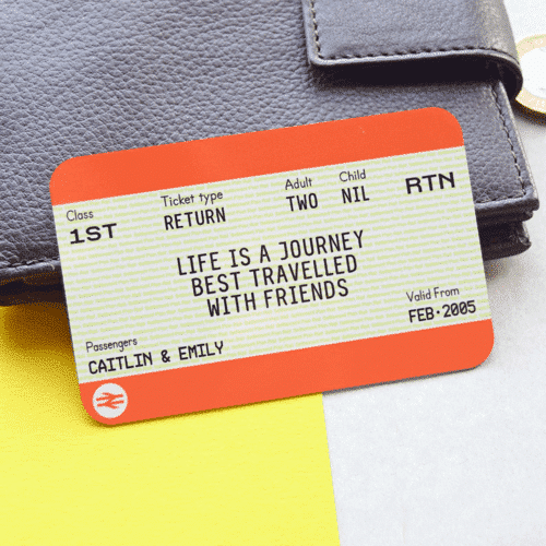 an image of a personalised train ticket travel gift idea
