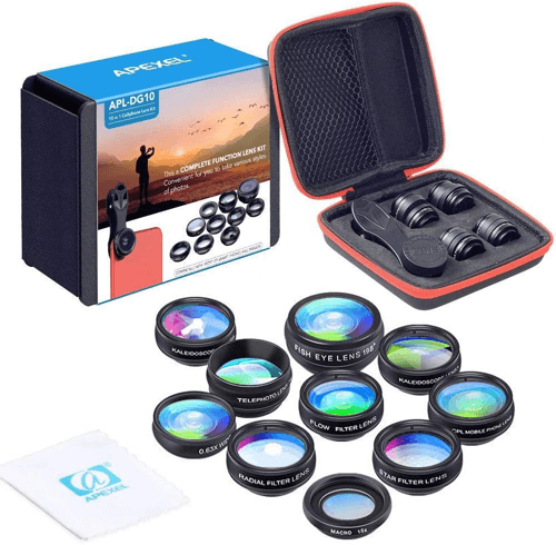 an image of a ten in one phone camera lens kit - one of our gifts for travellers suggestions