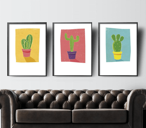 an image of a set of three cacti prints