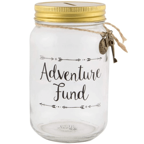 an image of an adventure fund jar - one of our small travel gifts suggestions