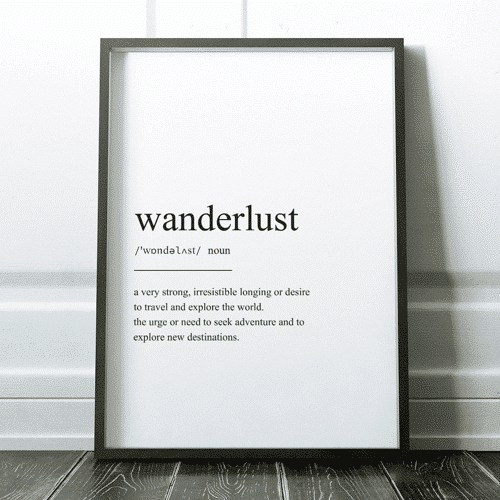 an image of a wanderlust definition print travel gifts idea