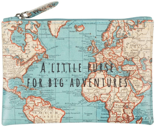 an image of a vintage map print purse travel gift idea - one of our small travel gifts suggestions
