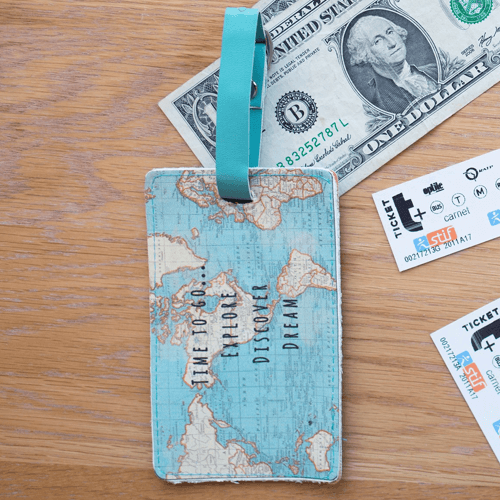 an image of a vintage map print bag tag travel gift idea