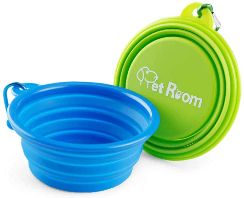 an image of a pack of two collapsible dog water bowls