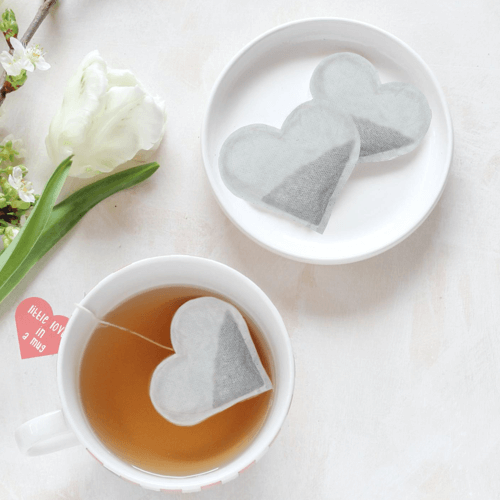 an image of heart shaped tea bags - one of our ideas of cute small gifts for boyfriends