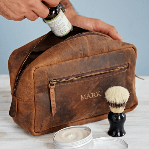 an image of a personalised buffalo leather wash bag