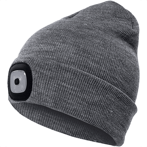 an image of a beanie hat with led light- one of our ideas of useful gifts for dog walkers