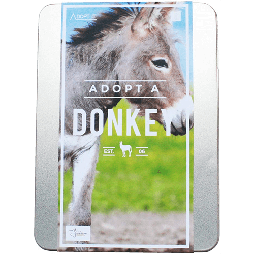 an image of an adopt a donkey gift box