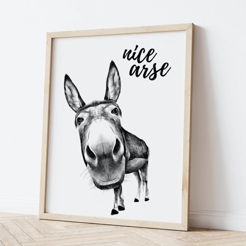 an image of a funny donkey print