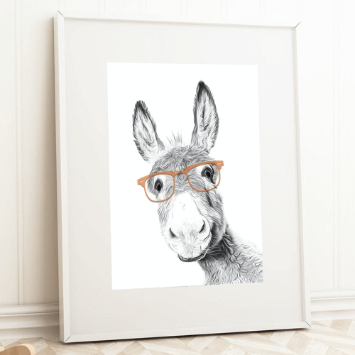 an image of a donkey in glasses print