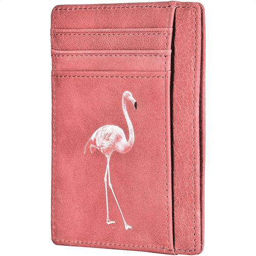 an image of a flamingo themed leather card holder