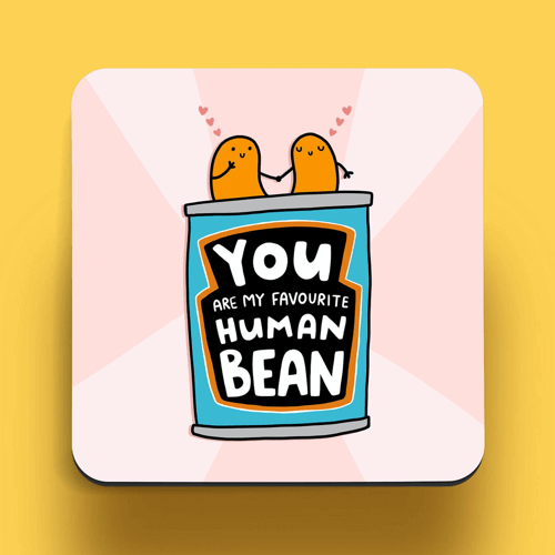 an image of a funny bean coaster - one of our ideas of cute gifts for boyfriends