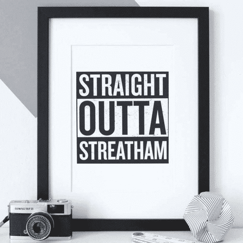 an image of a custom straight outta hometown print gift idea