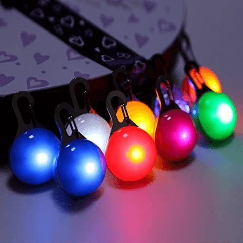 an image of a clip on dog collar light- one of our ideas of useful gifts for dog walkers