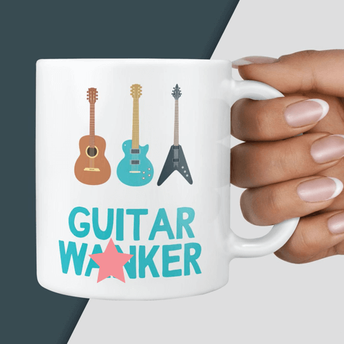 an image of a funny guitar mug - our pick of the best gifts for guitar players