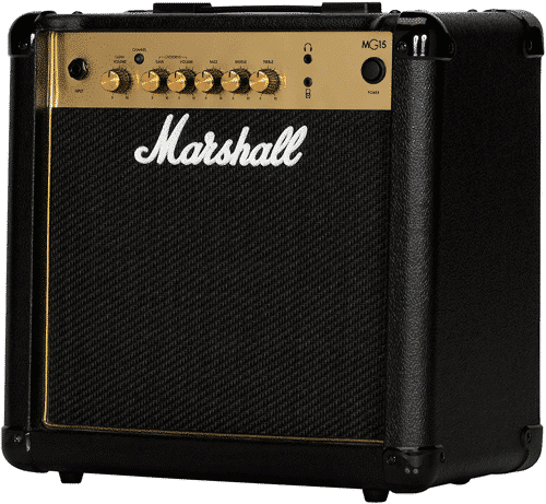 an image of the marshall MG15 practice amplifier