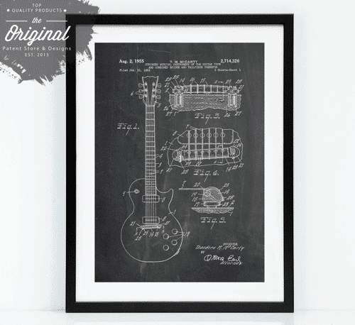 an image of a gibson les paul patent poster