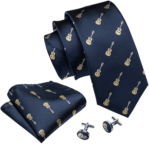 an image of a guitar themed tie, handkerchief and cufflinks set - one of our picks of guitar gifts for him for christmas, birthday, or any other special occasion