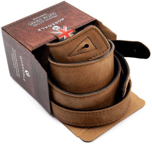 an image of a handmade real leather guitar strap- one of our picks of guitar themed gifts