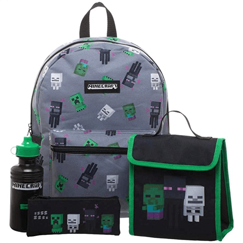 an image of a minecraft backpack four piece set - one of our suggestions for minecraft gifts for kids