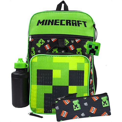 an image of a gaming creeper five piece backpack set
