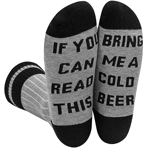 an image of novelty bring me a beer socks - one of our ideas of cute boyfriend gifts