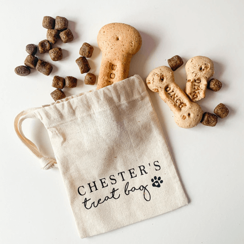 an image of a personalised dog name treat bag- one of our ideas of personalised gifts for dog walkers